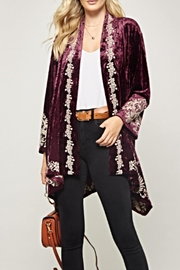 Andree by Unit Embroidered Velvet Cardigan - Product Mini Image