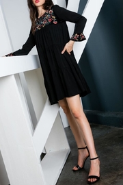 THML Clothing Embroidered Velvet Dress - Front cropped