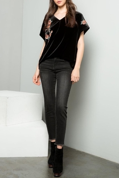 THML Clothing Embroidered Velvet Top - Product List Image