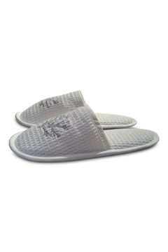 Jacaranda Living Embroidered Waffleweave Slippers - Product List Image