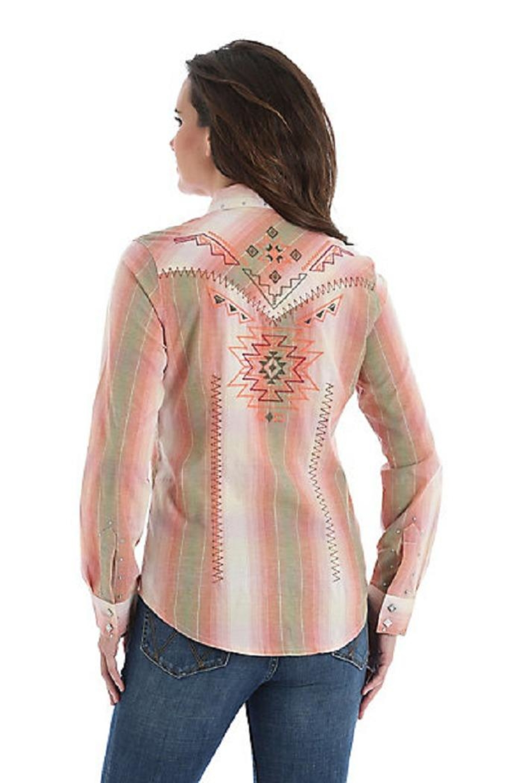 Wrangler Embroidered Western Snap-Up - Front Full Image