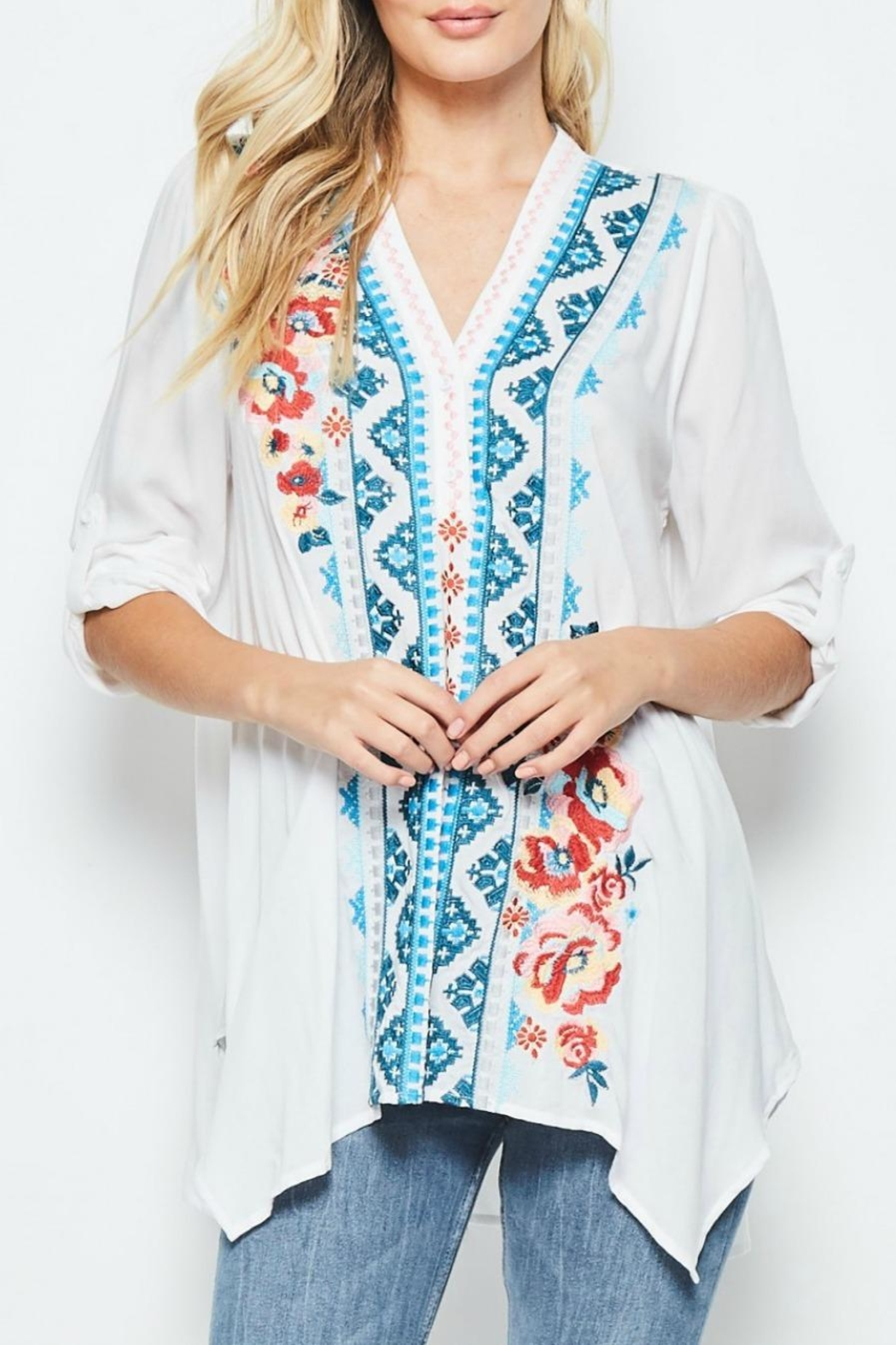 Andree by Unit Embroidered White Tunic - Main Image