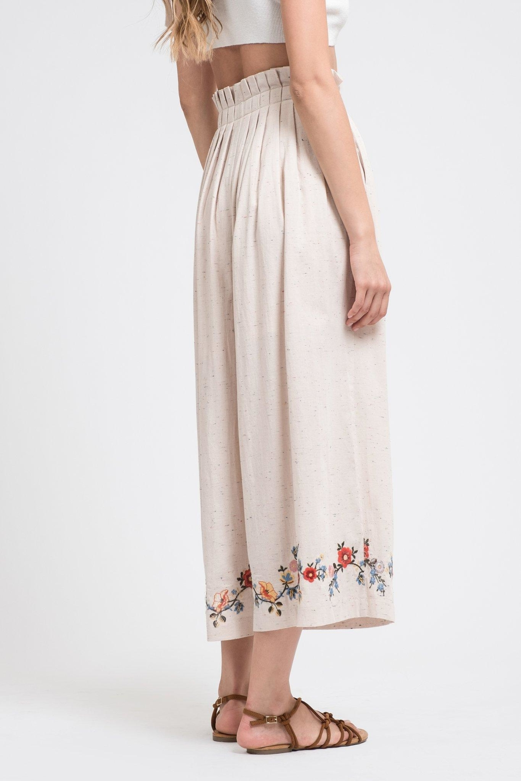 J.O.A. Embroidered Wide-Leg Pants - Front Full Image