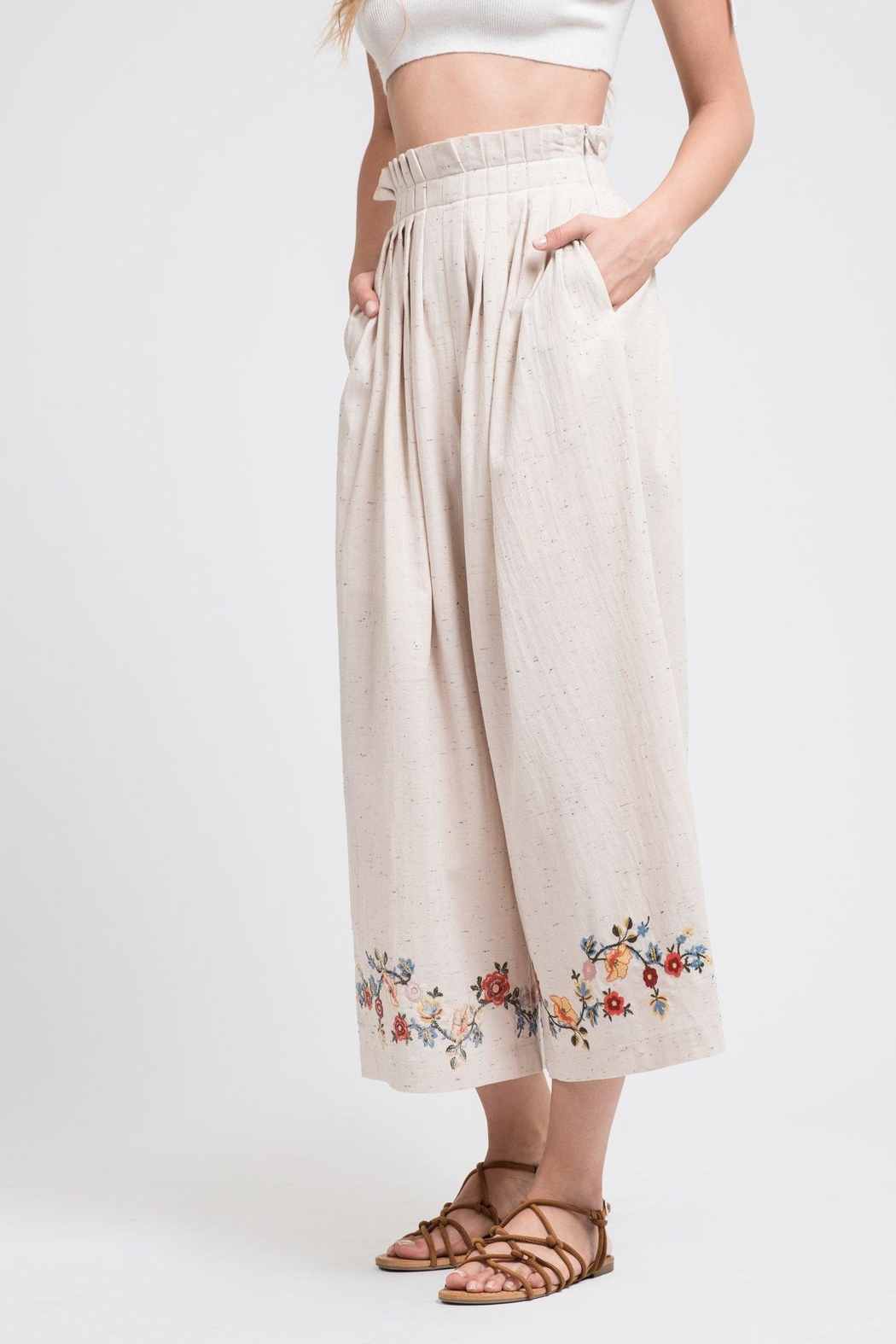 J.O.A. Embroidered Wide-Leg Pants - Front Cropped Image
