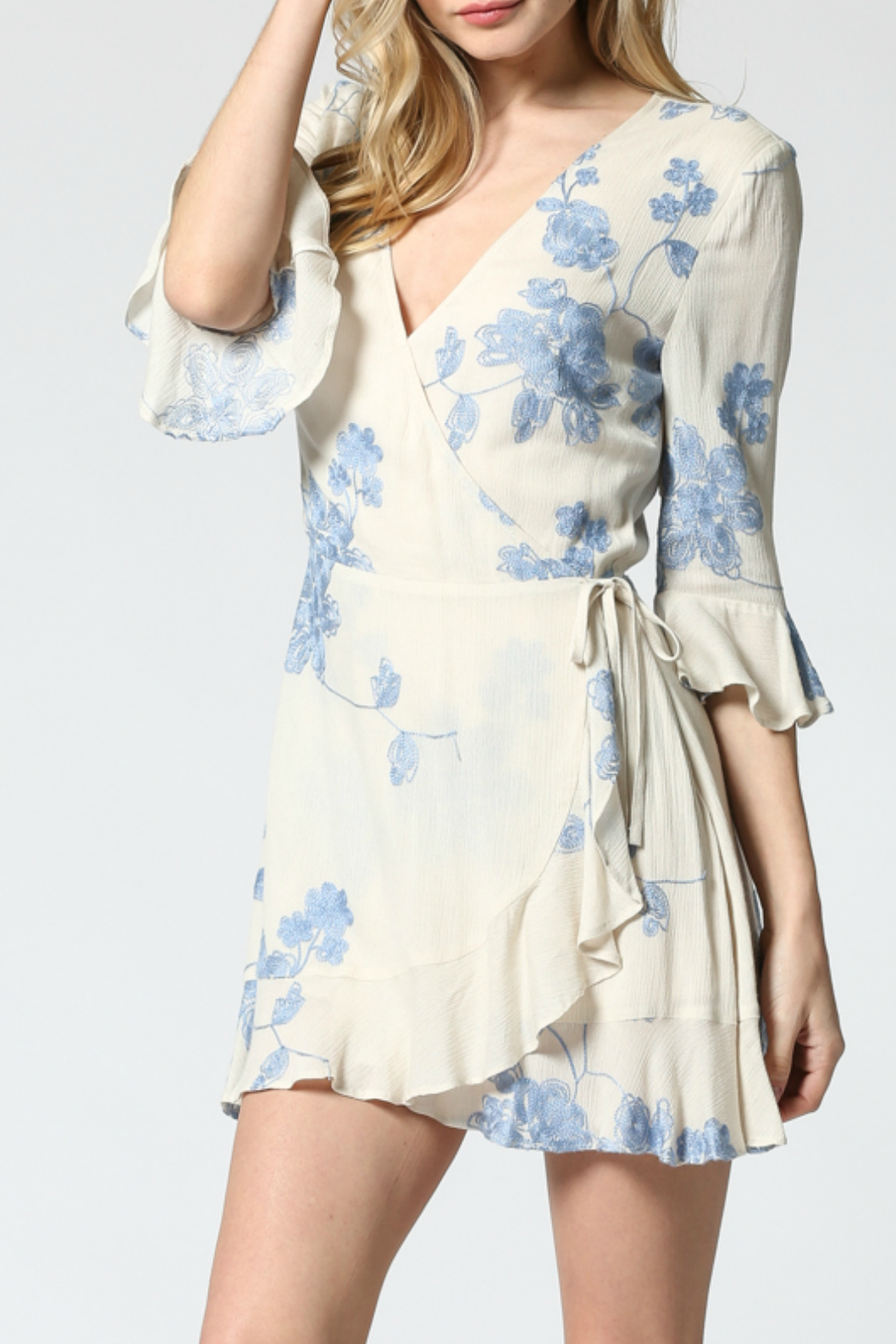 FATE by LFD Embroidered wrap dress - Front Full Image