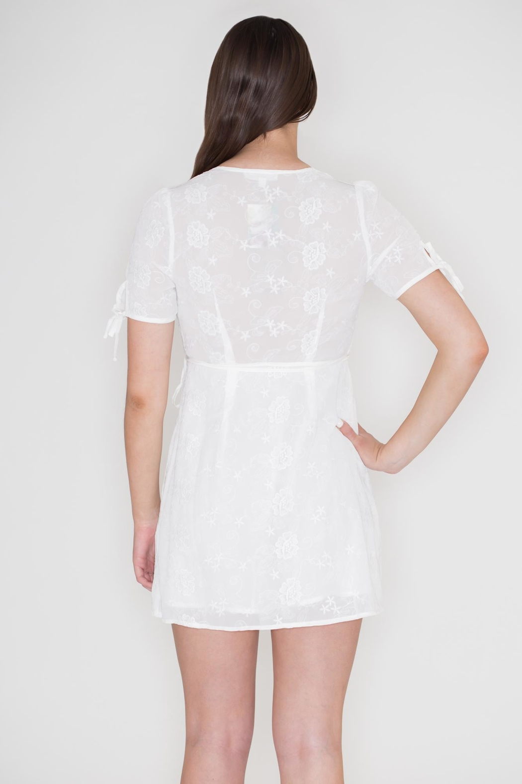 Honey Punch Embroidered Wrap Dress - Side Cropped Image