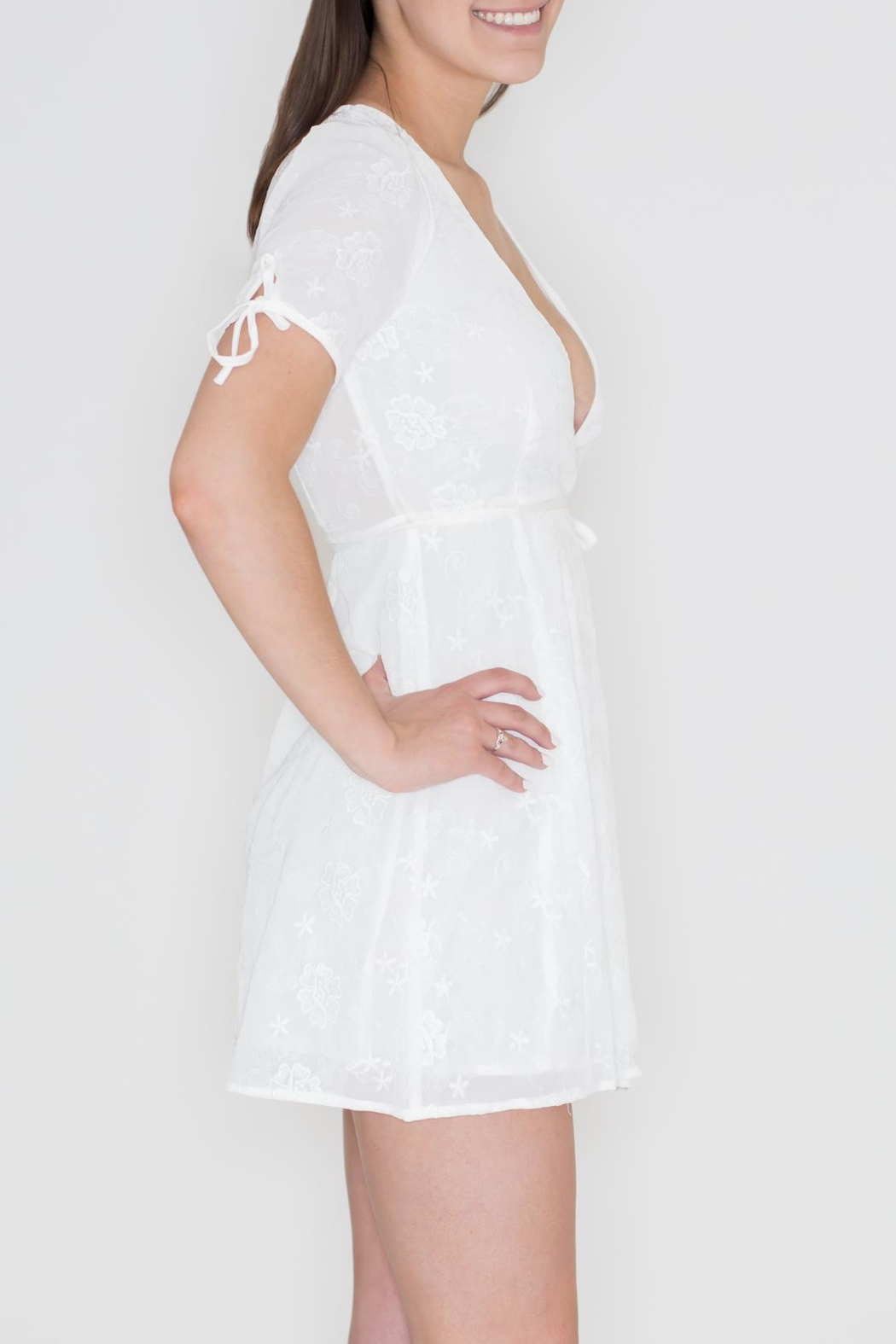 Honey Punch Embroidered Wrap Dress - Front Full Image