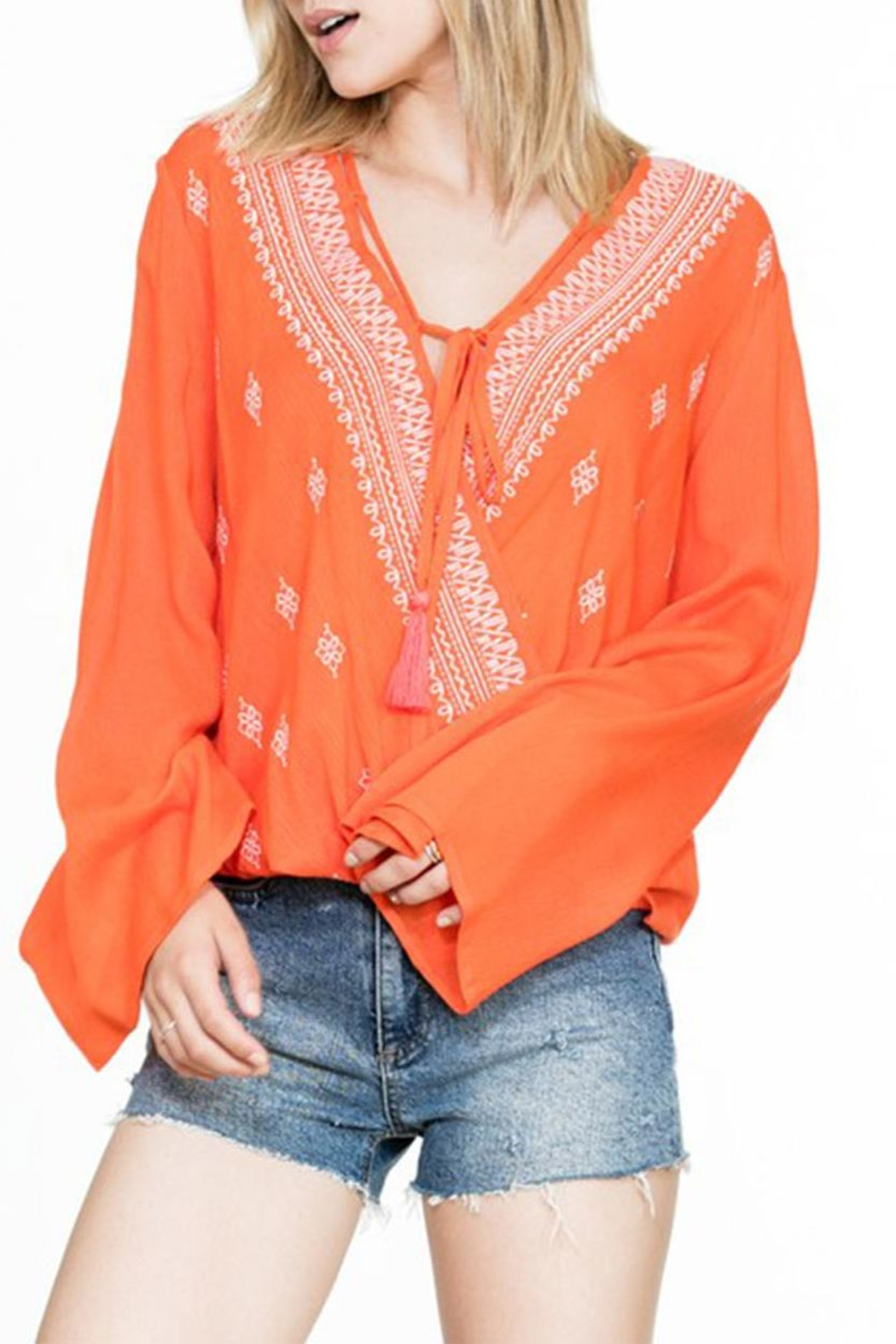 En Creme Embroidered Wrap Top - Front Full Image