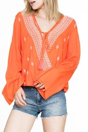 En Creme Embroidered Wrap Top - Front full body