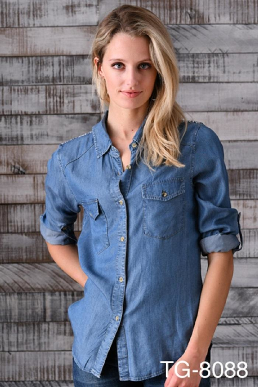 Biz Embroidered Yoke Button-Up - Front Cropped Image
