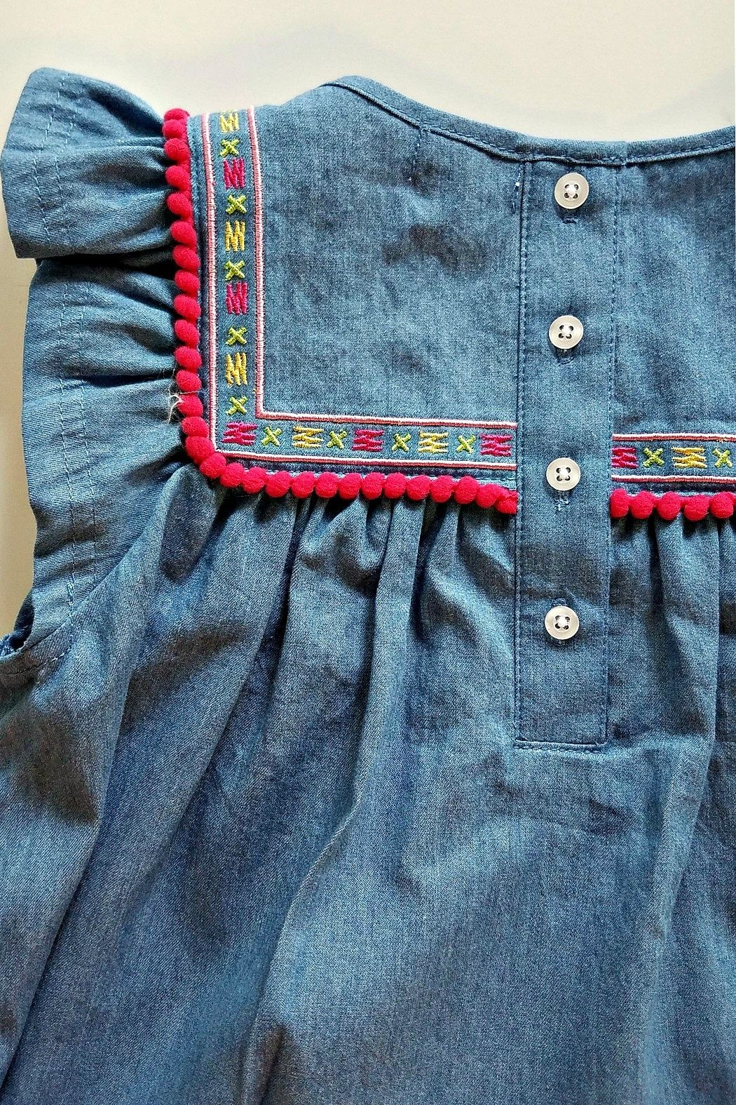 Cutie Pie Baby Embroidered-Yoke-Pom-Pom-Fringe Chambray Dress - Front Full Image