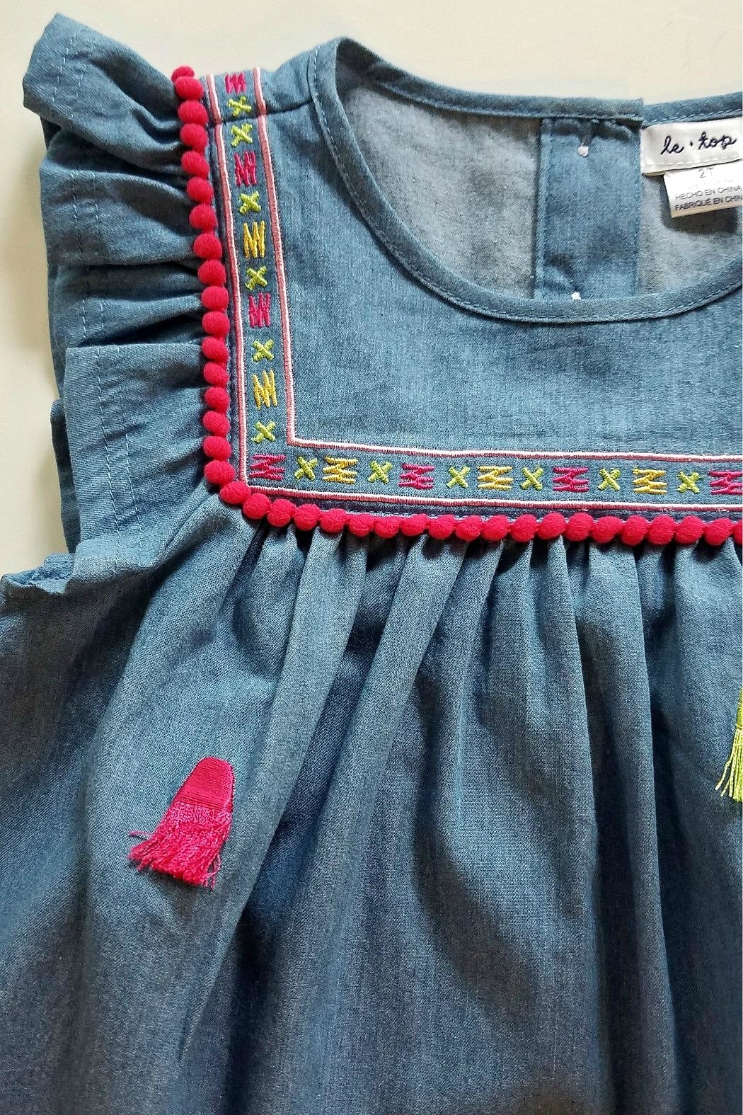 Cutie Pie Baby Embroidered-Yoke-Pom-Pom-Fringe Chambray Dress - Side Cropped Image