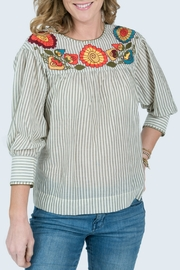 Ivy Jane Embroidered Yoke with Long Cuff Sleeve Blouse - Product Mini Image