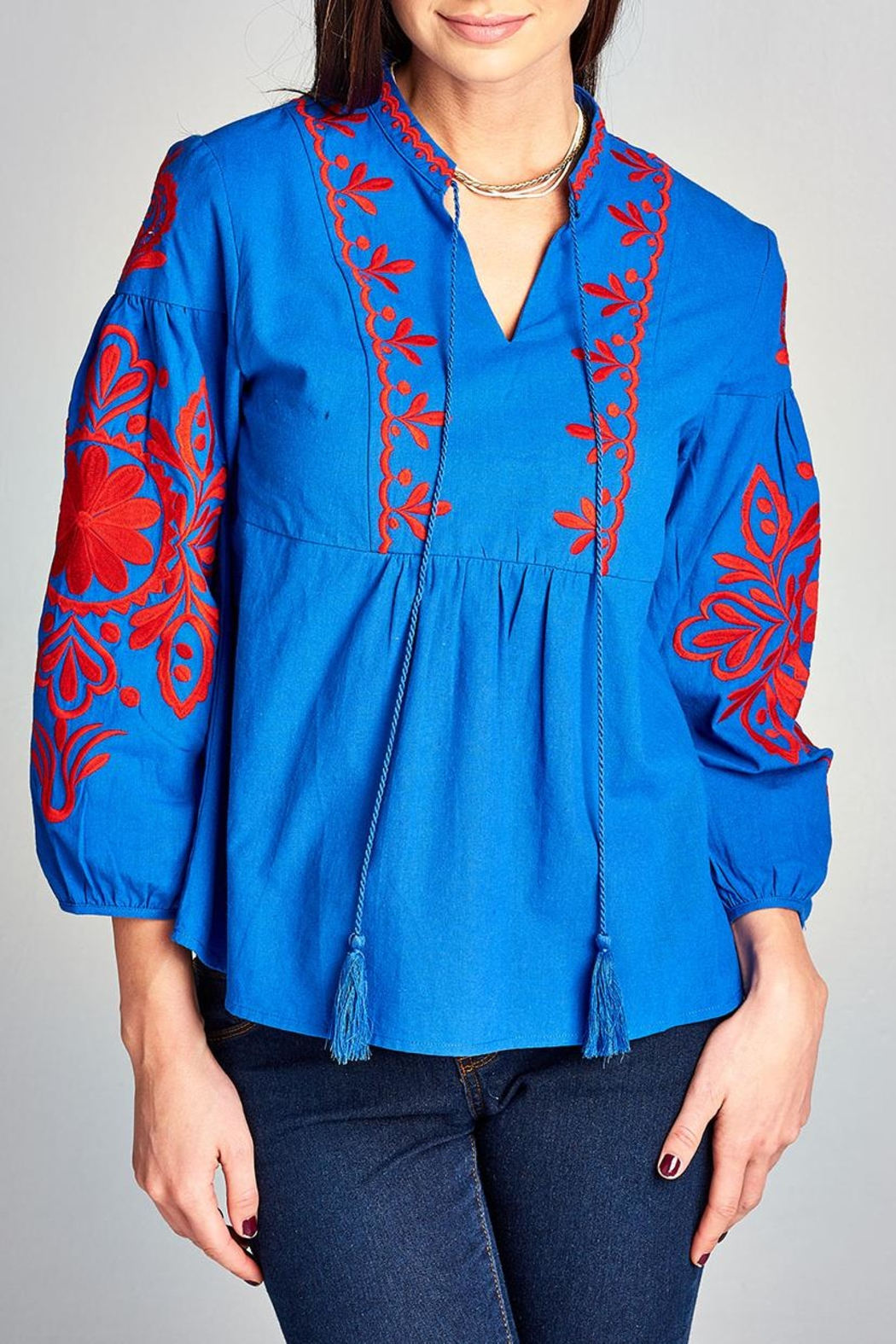 Velzera Embroidery-Accent Peasant Top - Main Image