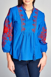 Velzera Embroidery-Accent Peasant Top - Product Mini Image