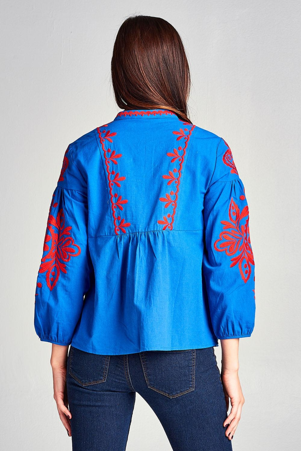 Velzera Embroidery-Accent Peasant Top - Front Full Image