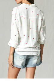 By Together Embroidery all over button down top - Side cropped