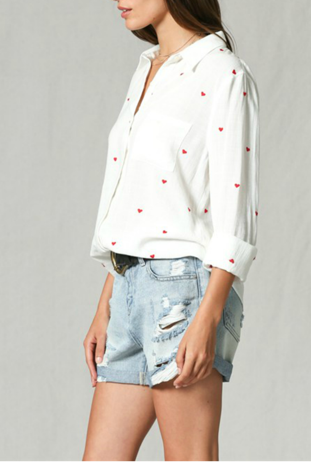 By Together Embroidery all over button down top - Front Full Image