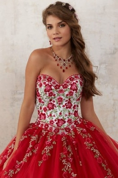 Morilee Embroidery and Beading on a Tulle Quinceañera Ball Gown - Alternate List Image