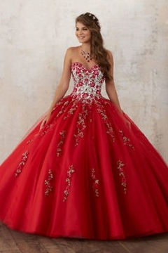 Morilee Embroidery and Beading on a Tulle Quinceañera Ball Gown - Product List Image
