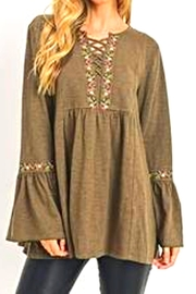 Jodifl Embroidery Bell-Sleeve Tunic - Product Mini Image