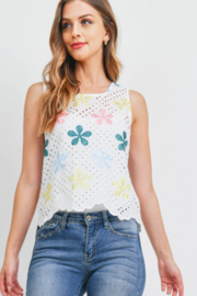 Lyn -Maree's Embroidery Floral Top - Front cropped