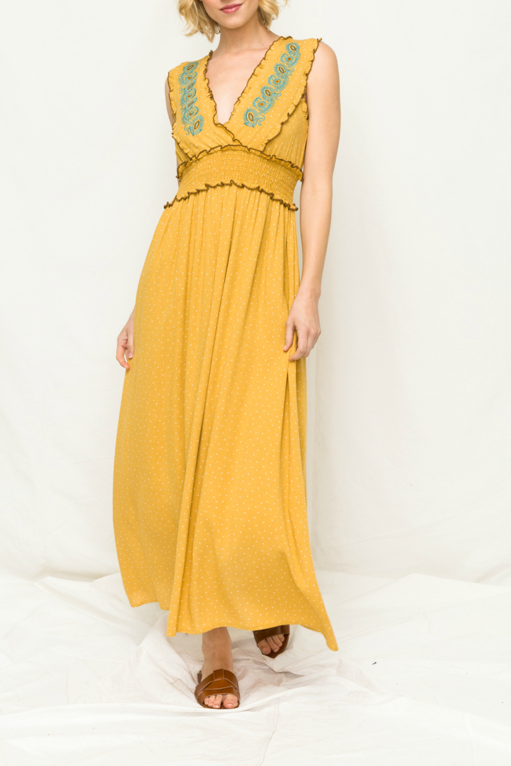 Mystree Embroidery front smock maxi dress - Main Image