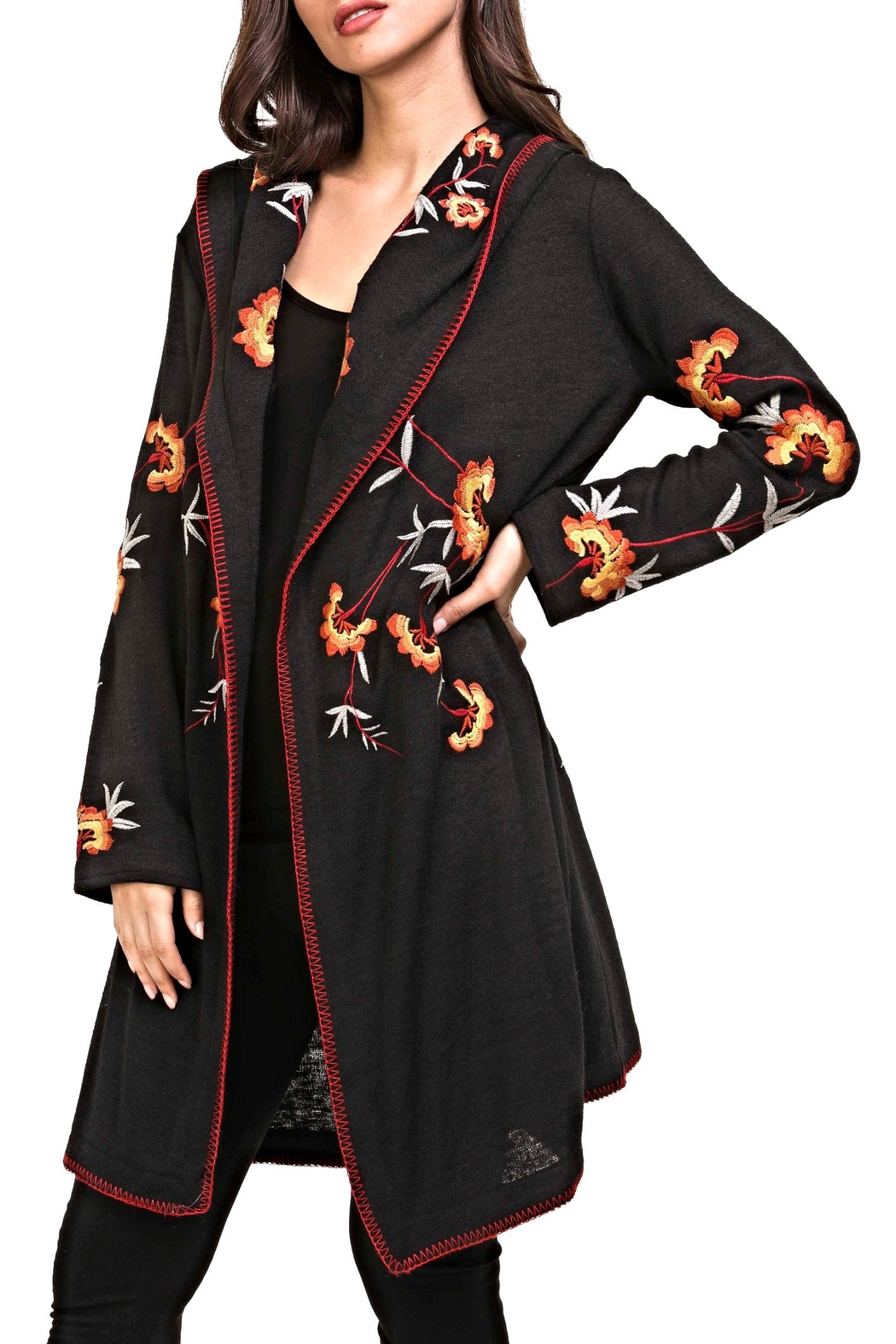 Adore Embroidery Hoodie Cardigan - Main Image