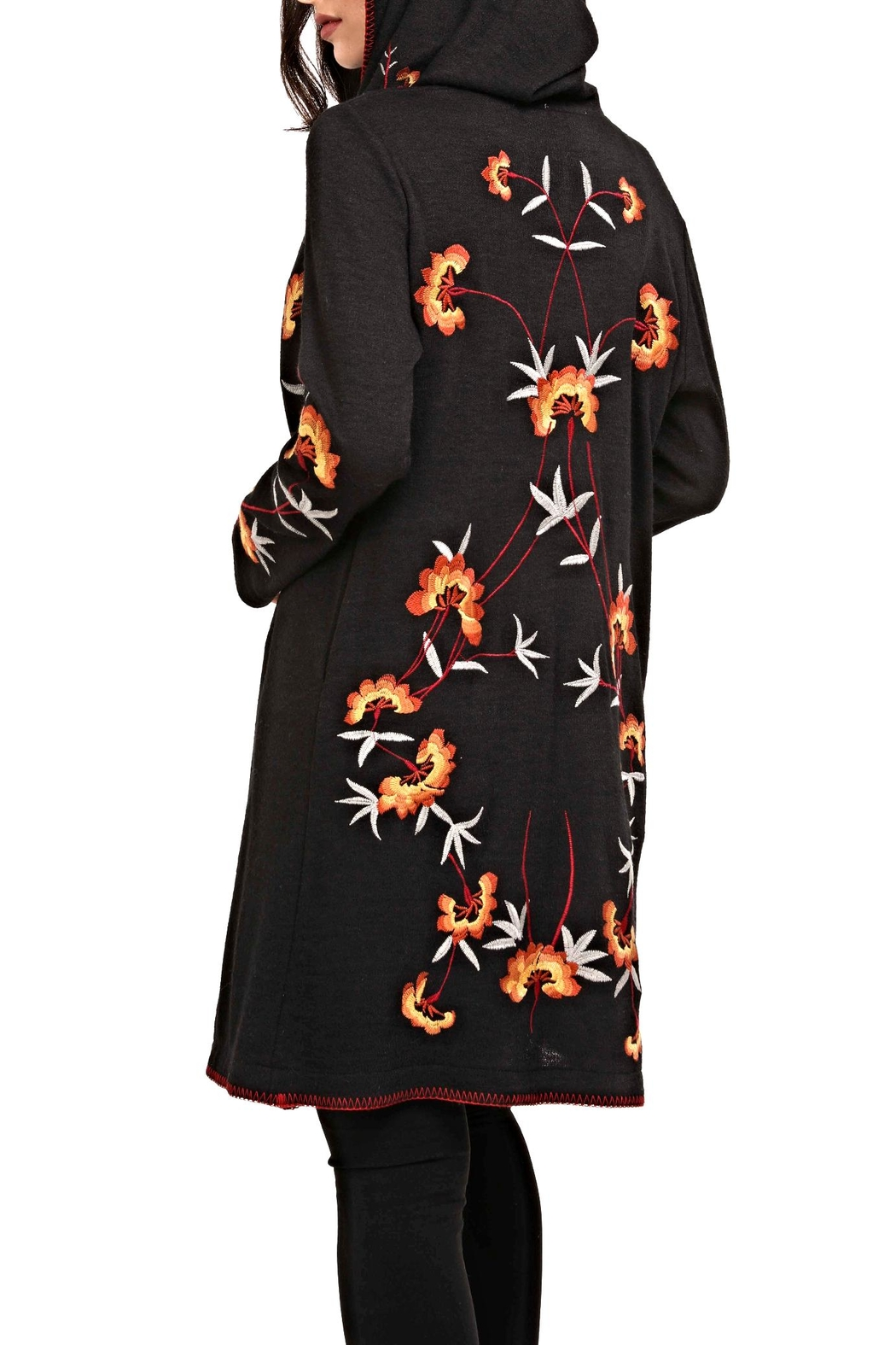 Adore Embroidery Hoodie Cardigan - Front Full Image