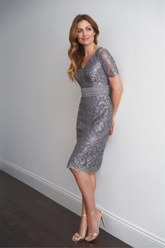 Black Label Embroidery Lace & Lace with Stretch Lining MOB Dress - Product List Image