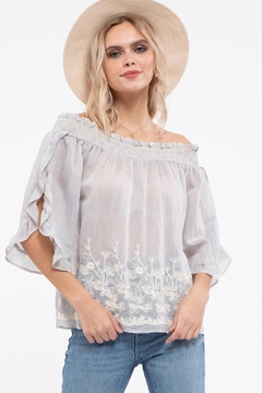 Moon River Embroidery Off The Shoulder Top - Product List Image