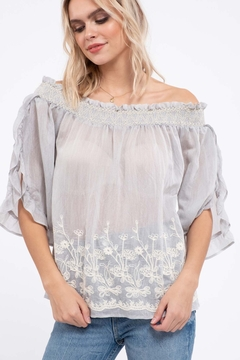 Moon River Embroidery Off The Shoulder Top - Alternate List Image