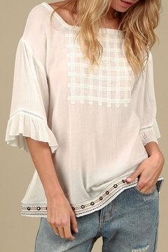 Shoptiques Product: Embroidery Ruffled-Sleeve Top