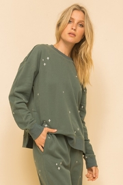 Hem and Thread Embroidery Side Slit Sweatshirt - Product Mini Image