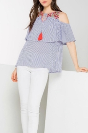 THML Clothing Embroidery Striped Top - Product Mini Image