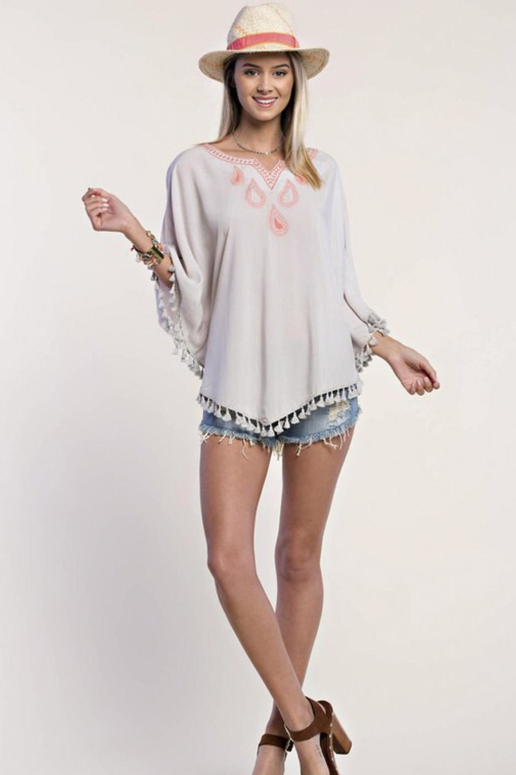 People Outfitter Embroidery Tassels Top - Front Full Image