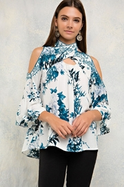 People Outfitter Embroidery Tie-Neck Top - Product Mini Image