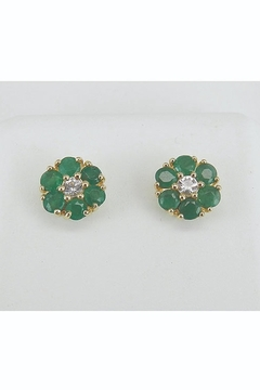 Margolin & Co Emerald and White Sapphire Stud Earrings Flower Wedding Studs Yellow Gold May Birthstone - Product List Image