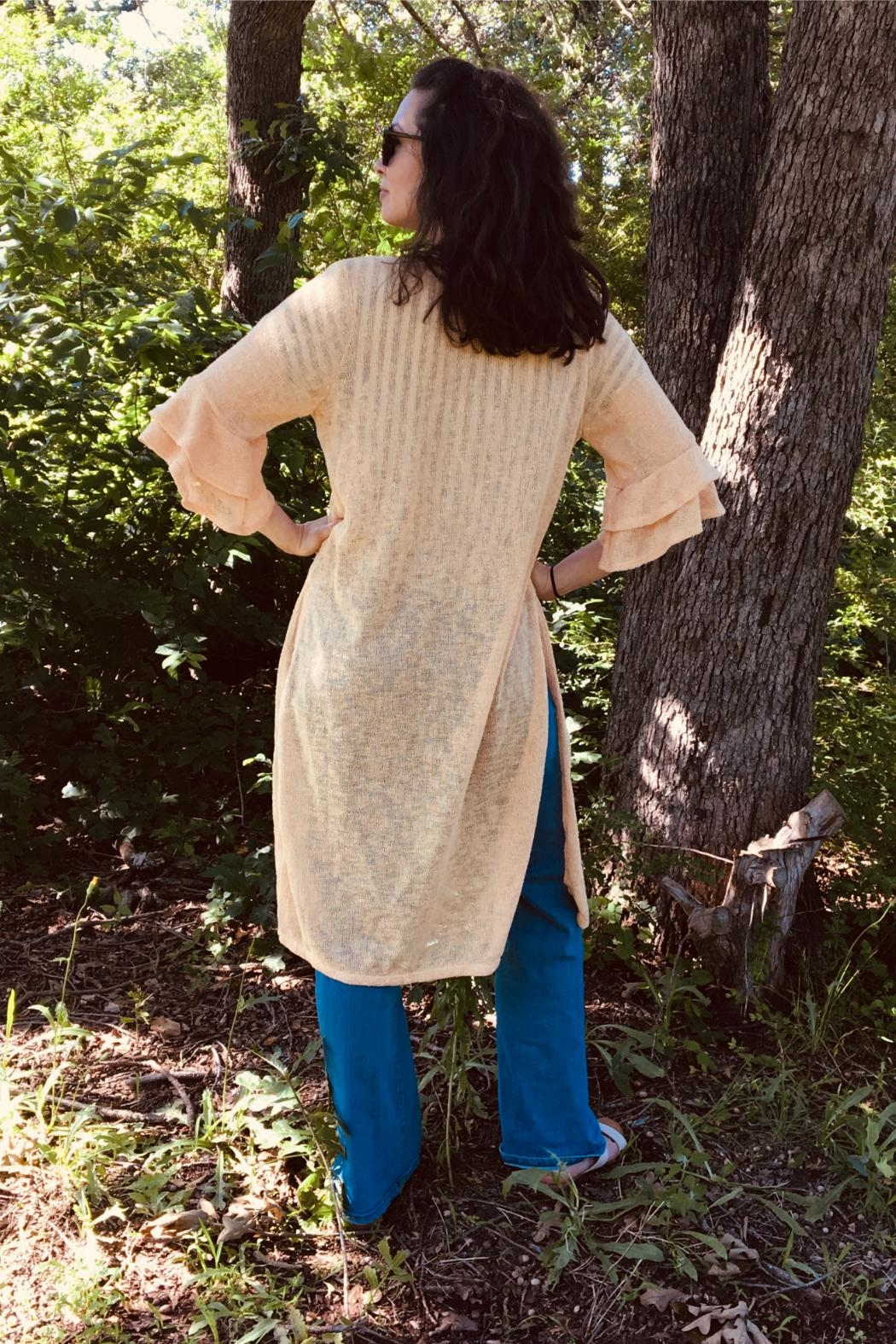 Emerald Bell-Sleeve Knit Cardigan - Front Full Image