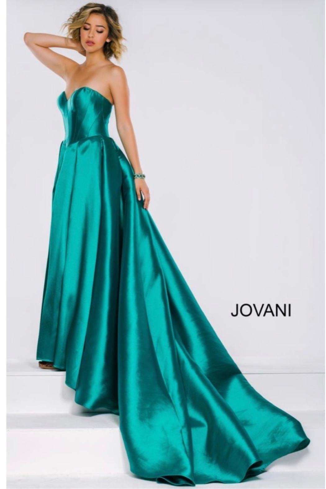 JOVANI FASHIONS EMERALD BUSTIER GOWN - Main Image