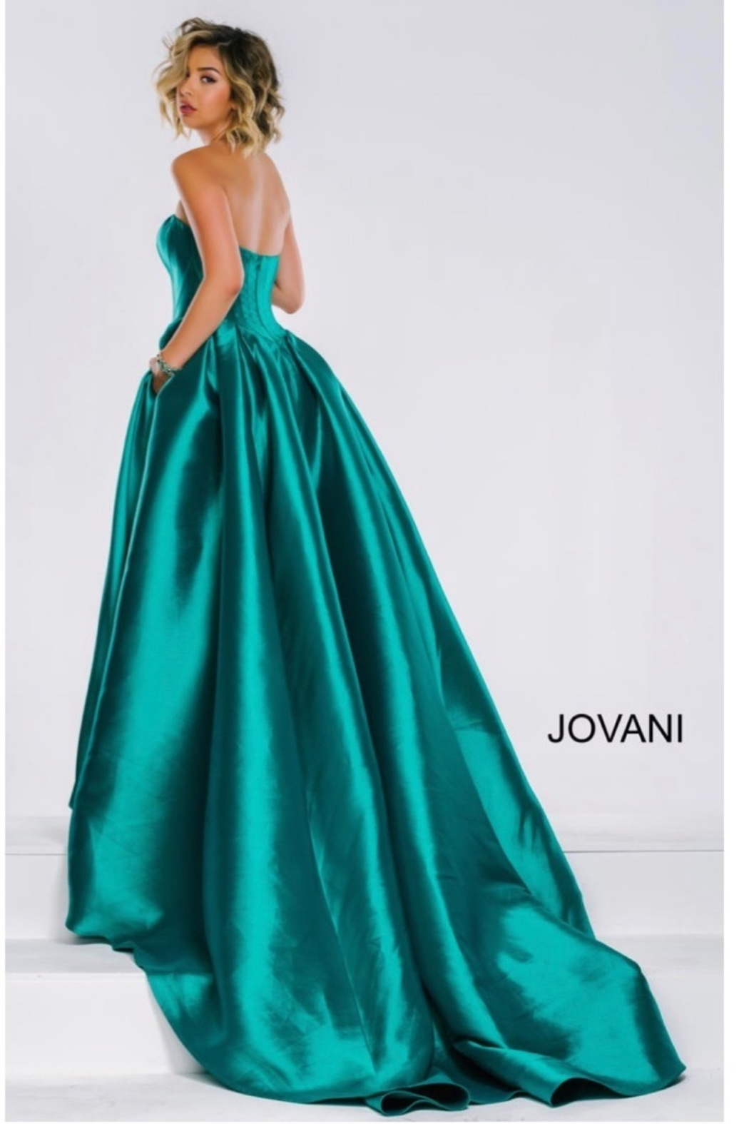 JOVANI FASHIONS EMERALD BUSTIER GOWN - Front Cropped Image