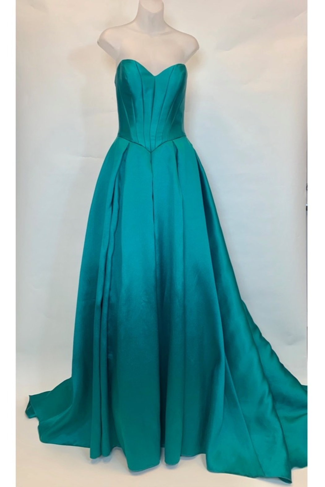 JOVANI FASHIONS EMERALD BUSTIER GOWN - Side Cropped Image