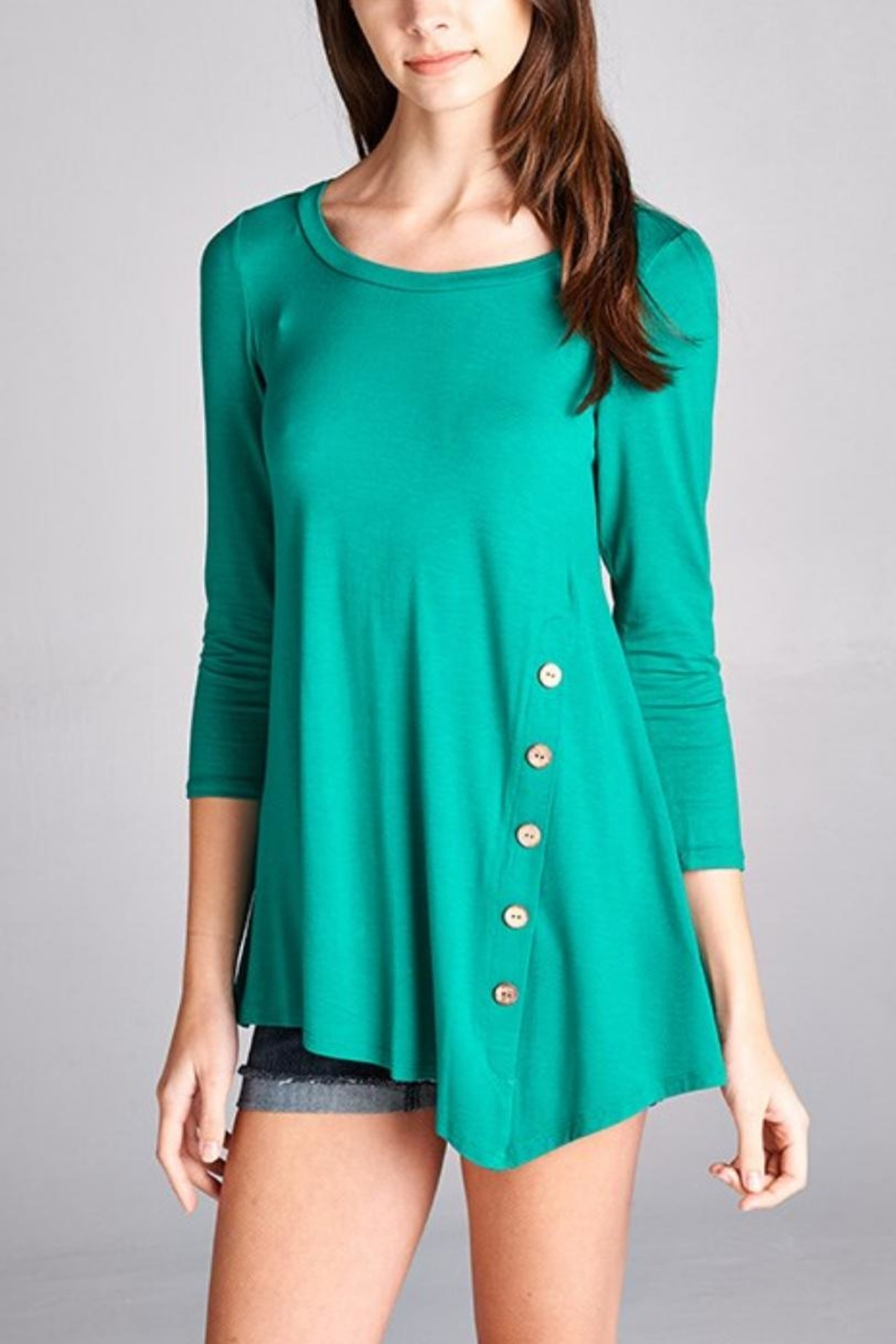 Emerald Button Embellished Tunic - Front Cropped Image