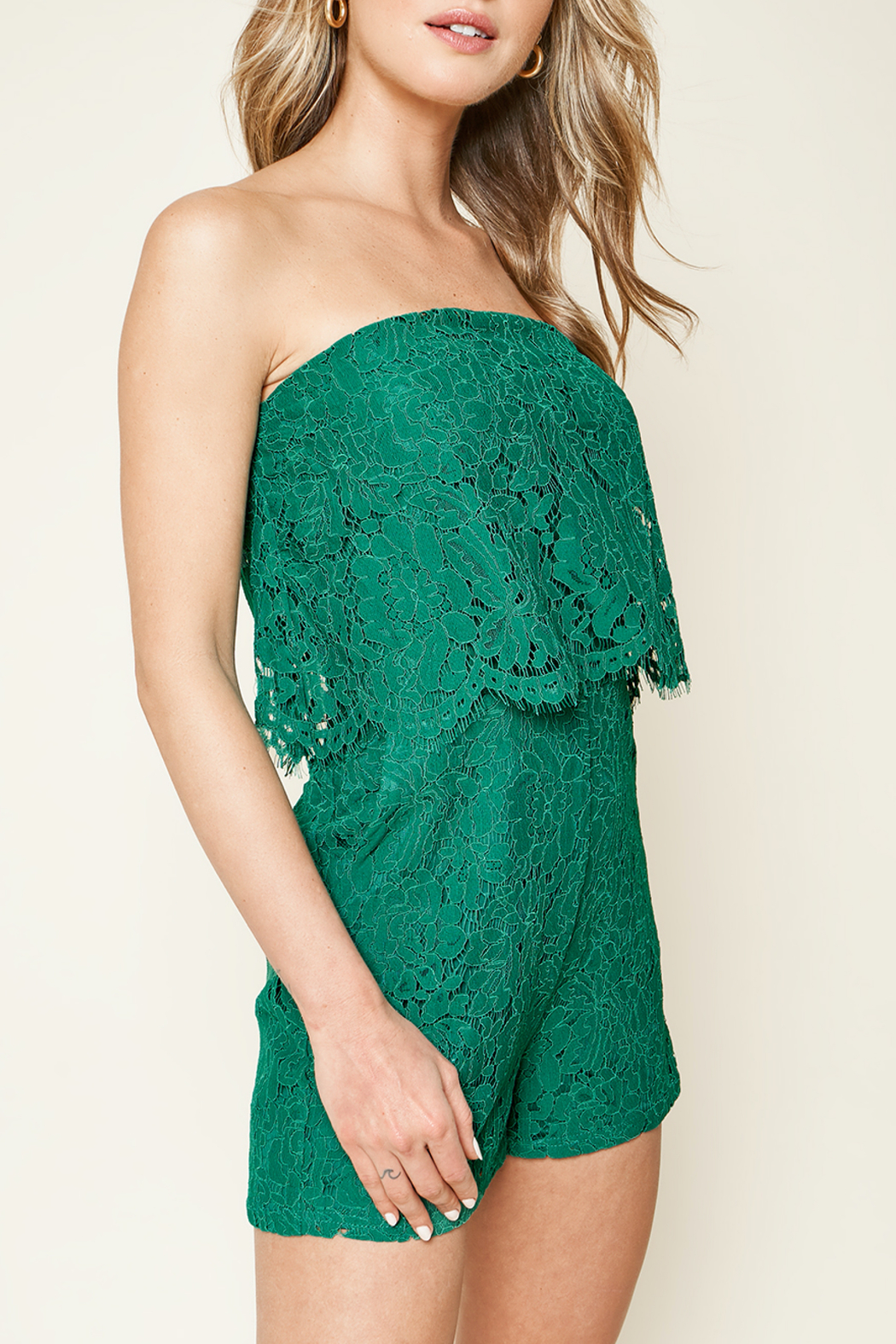 Sugarlips Emerald City Lace Romper - Front Full Image