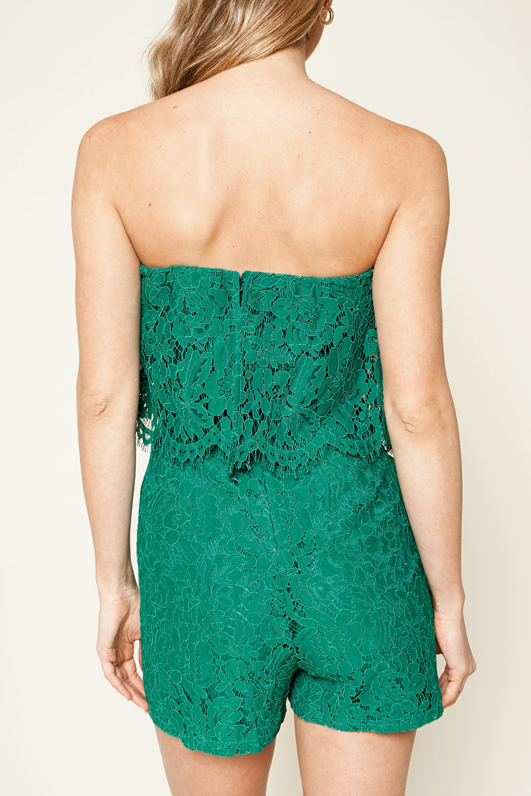 Sugarlips Emerald City Lace Romper - Side Cropped Image