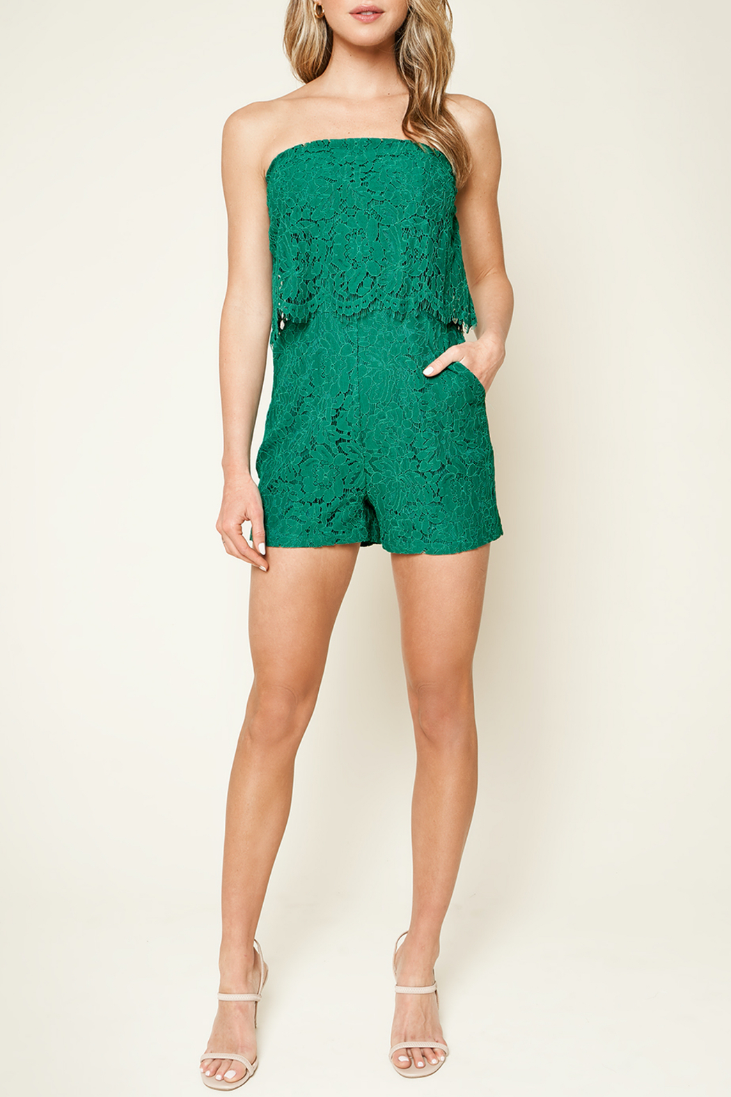 Sugarlips Emerald City Lace Romper - Back Cropped Image