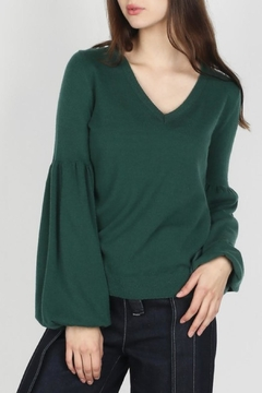 Skies Are Blue Emerald Contrast-Back Sweater - Product List Image