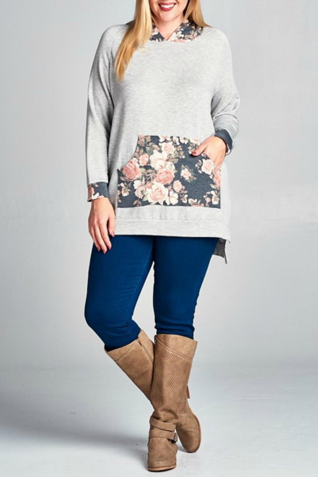 Emerald Floral Hoodie - Front Cropped Image