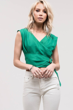 Just One Answer Emerald Green V-Neck Top with Wrap Belt - Product List Image