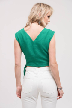 Just One Answer Emerald Green V-Neck Top with Wrap Belt - Alternate List Image